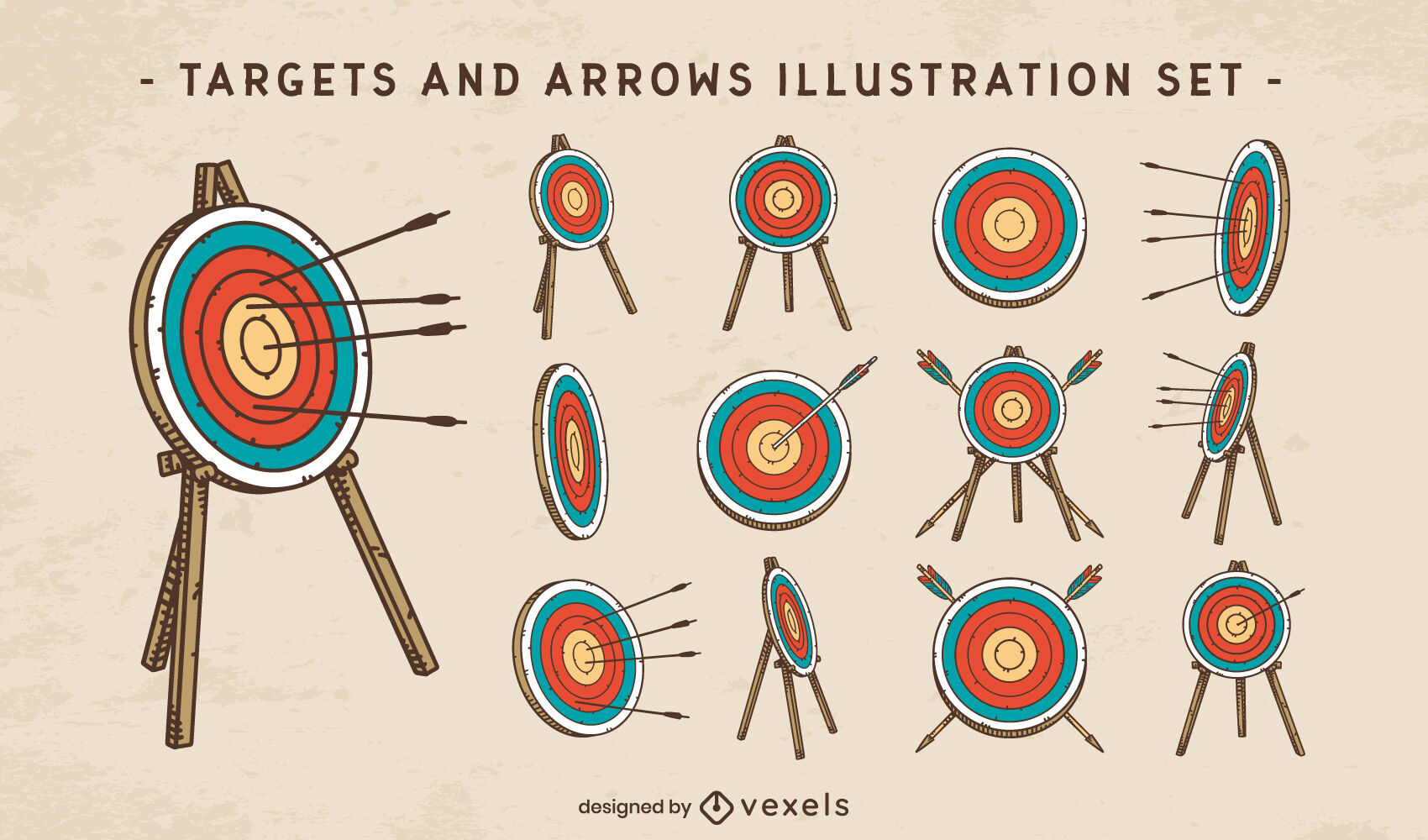 Targets and arrows color stroke set