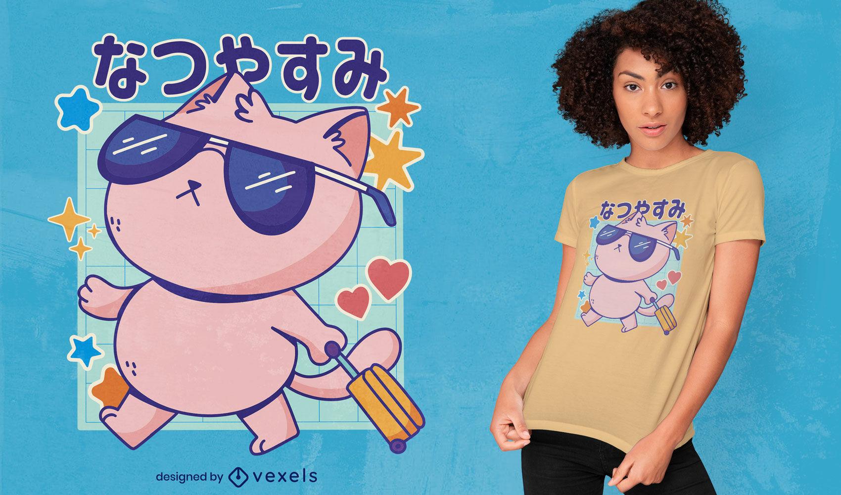 Japanese cool traveling cat t-shirt design