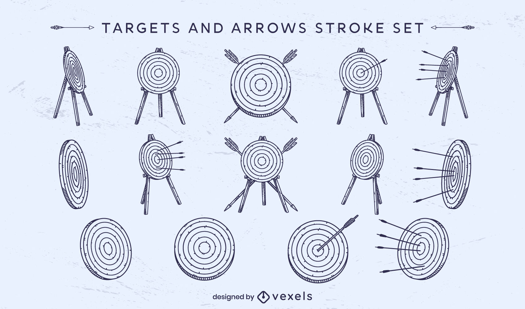 Targets and arrows stroke set