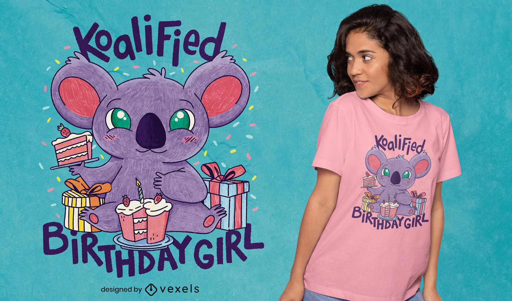 Koala birthday girl psd t-shirt design