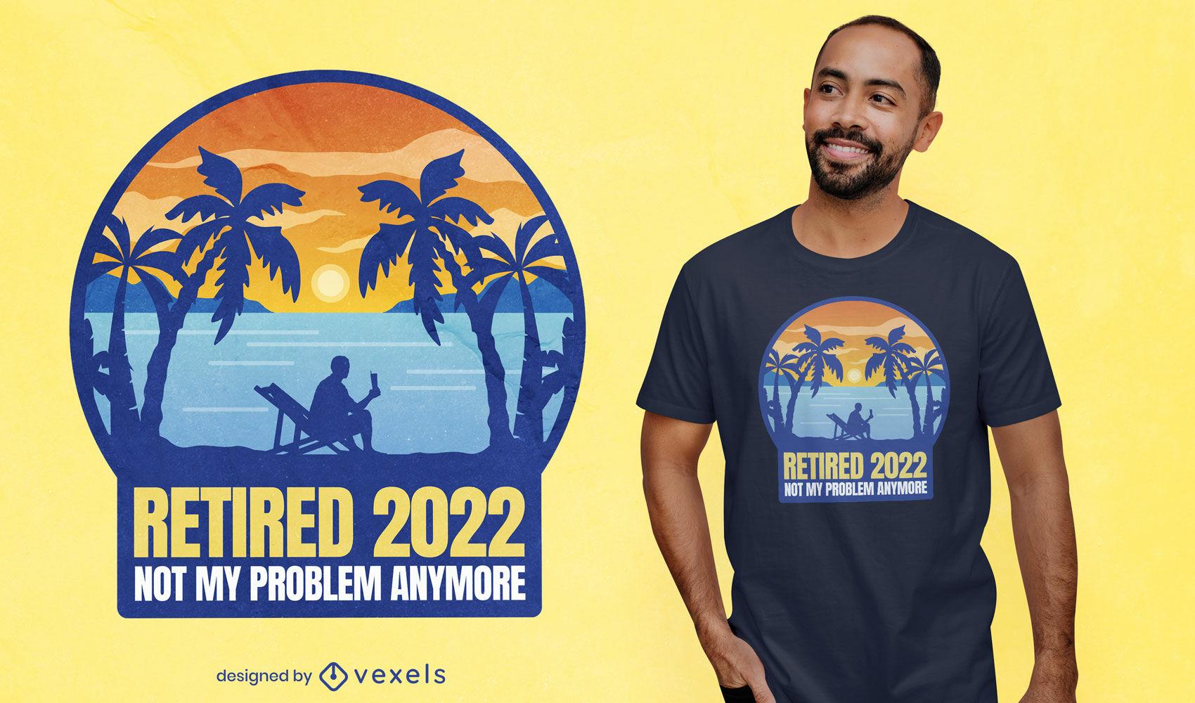 Aposentado em 2022 design de t-shirt de praia