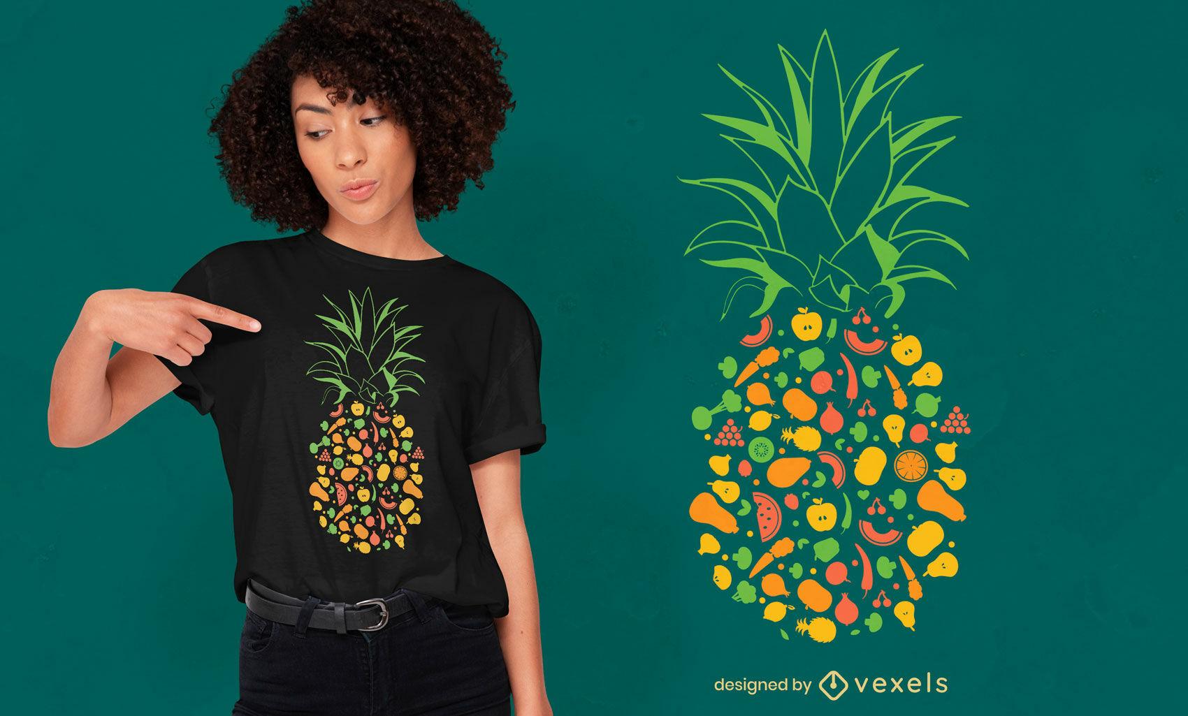Pineapple made of fruits t-shirt design