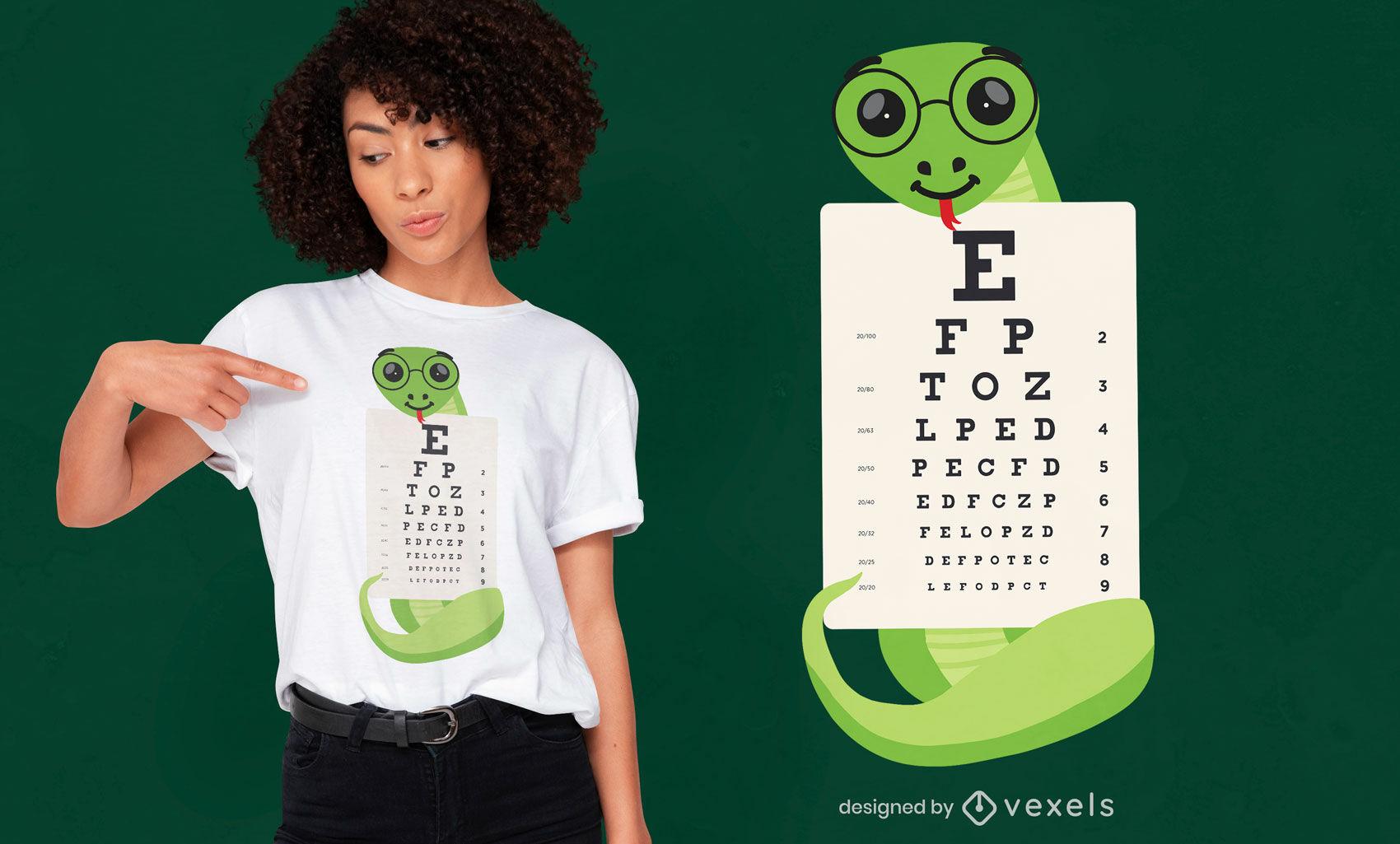 Snake holding eye chart t-shirt design