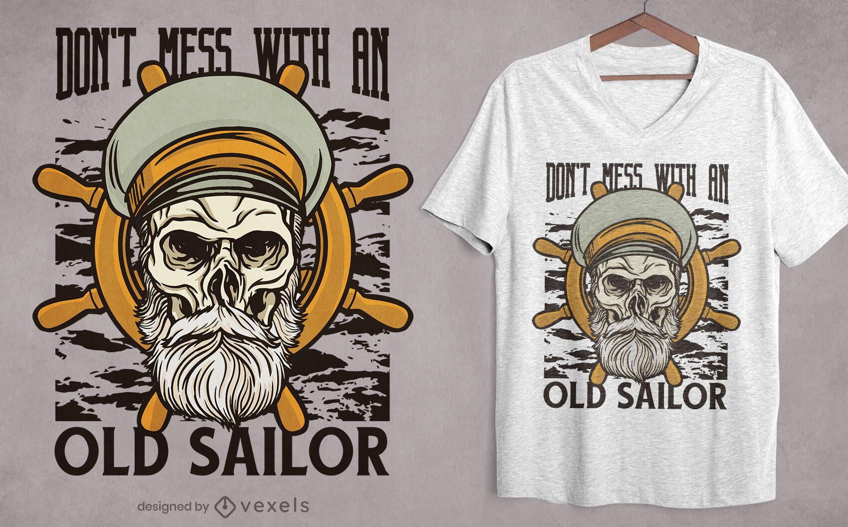 Desenho de camiseta com ilustração de caveira de marinheiro