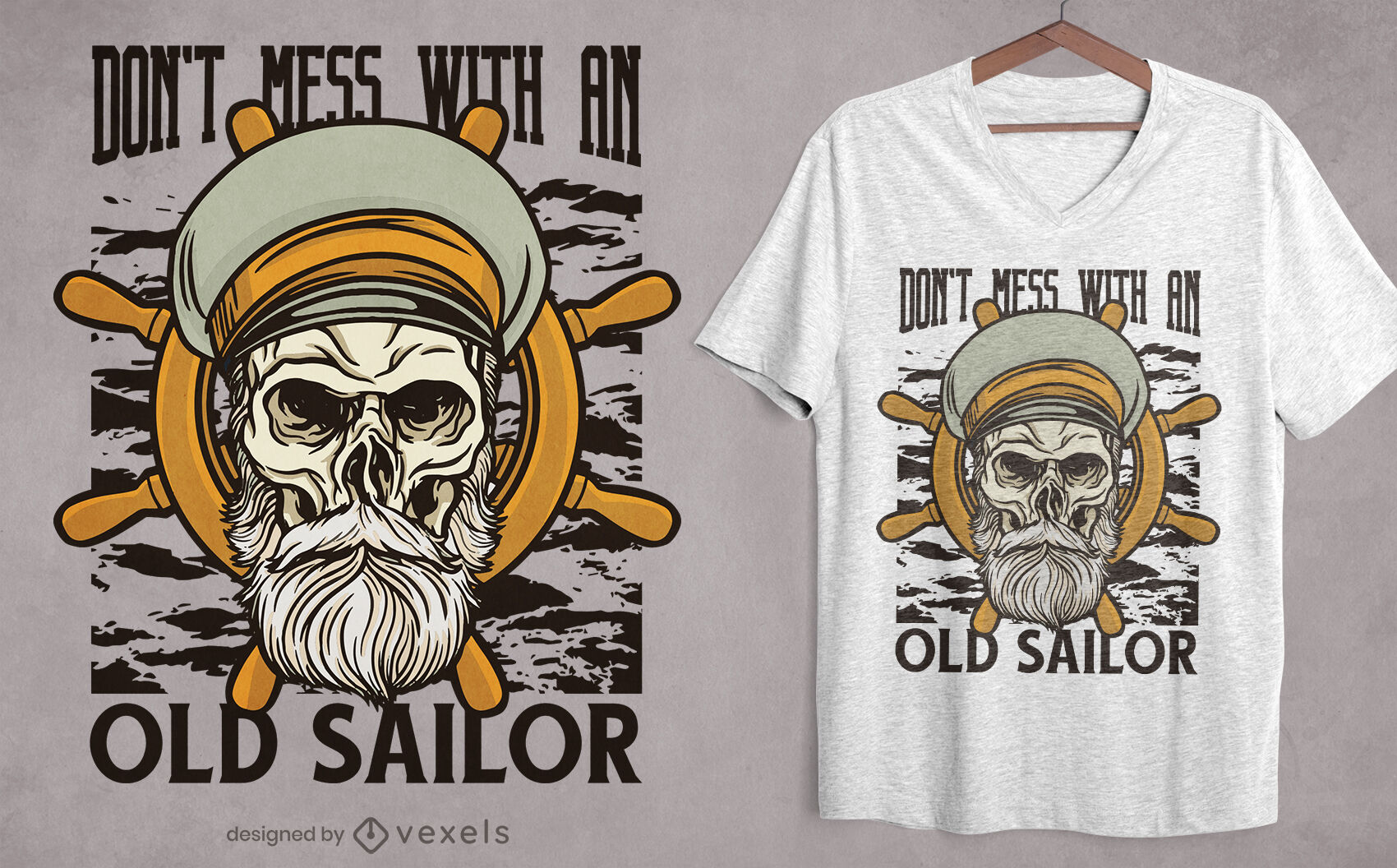 Sailor skull illustration t-shirt design