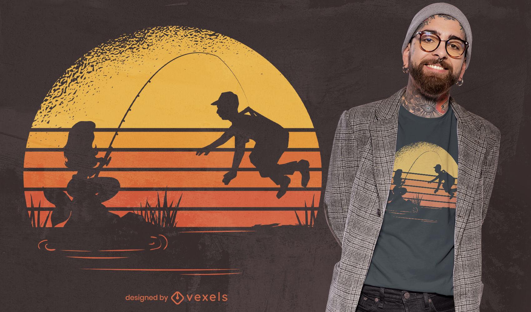 Desenho de t-shirt do pôr do sol de sereia de pesca