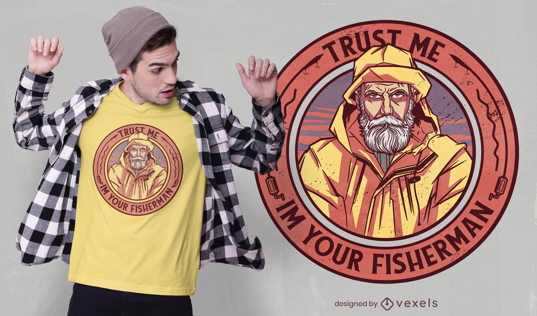 Desenho de t-shirt com emblema de pescador