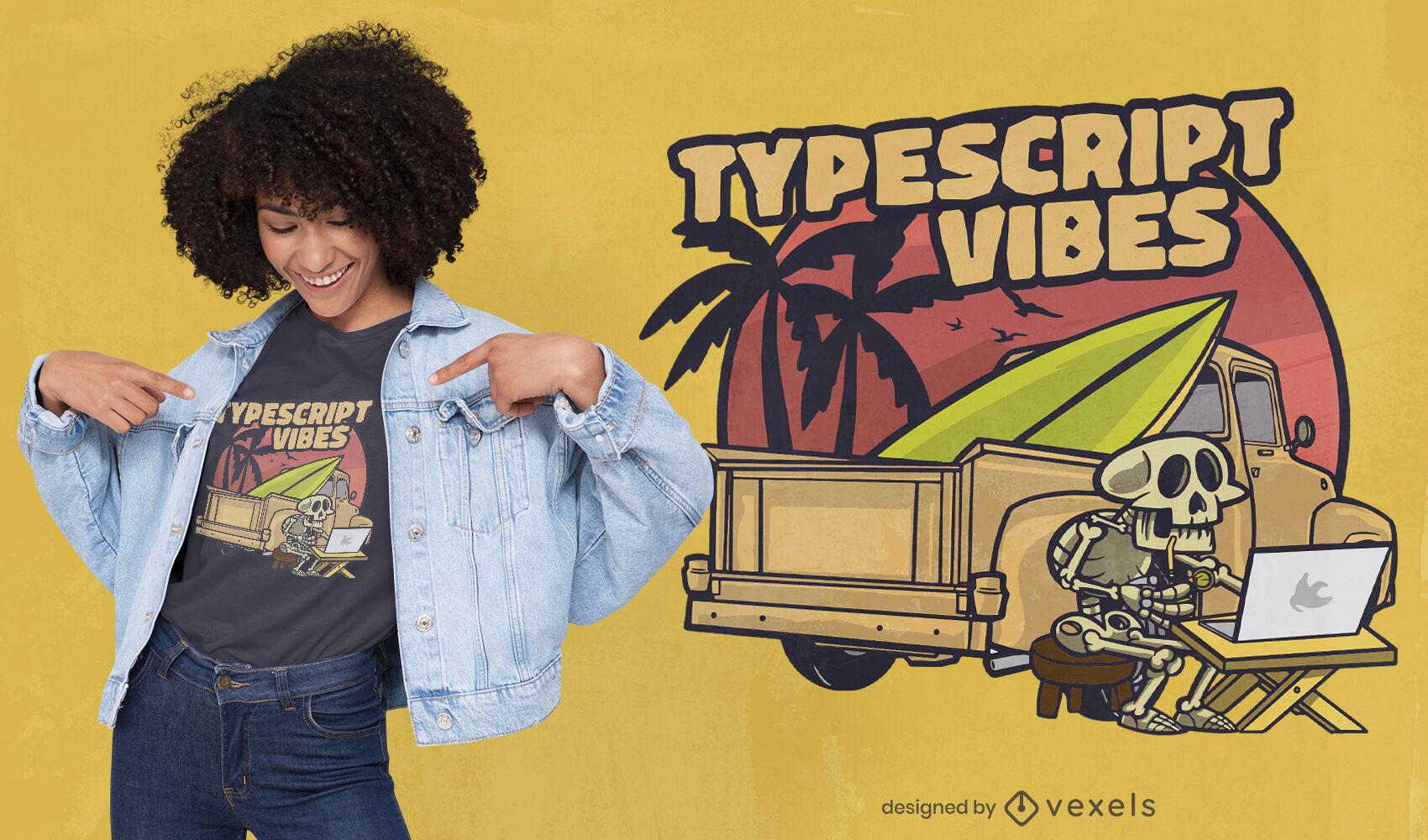 Esqueleto con diseño de camiseta de computadora y camión.