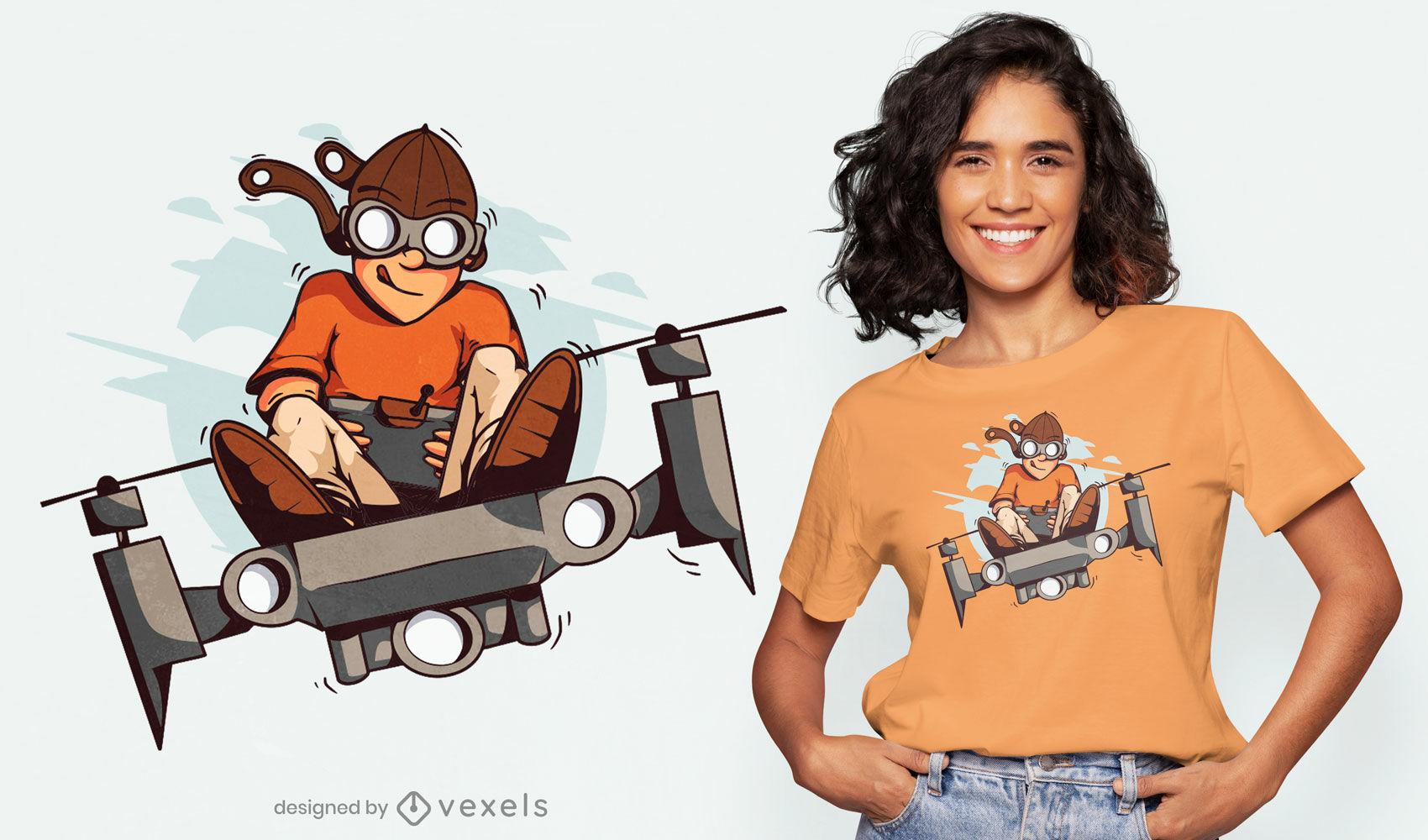 Diseño de camiseta de niño piloto volando dron.