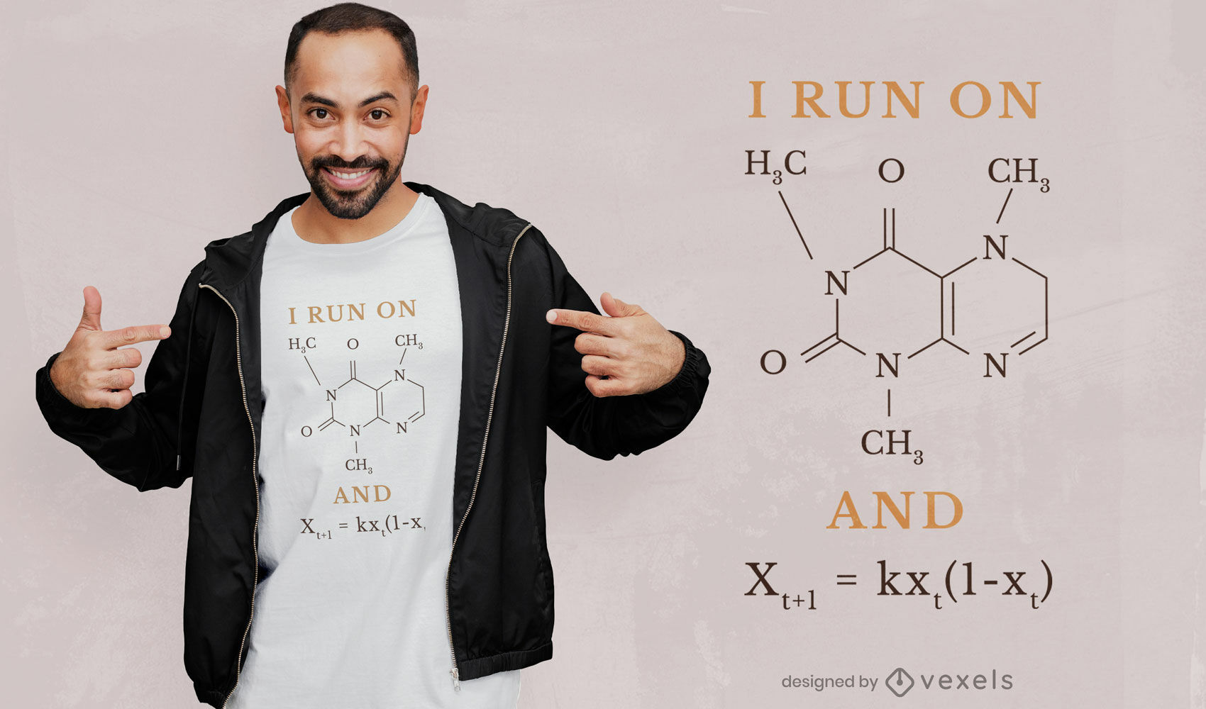 Diseño de camiseta de fórmula de cafeína.