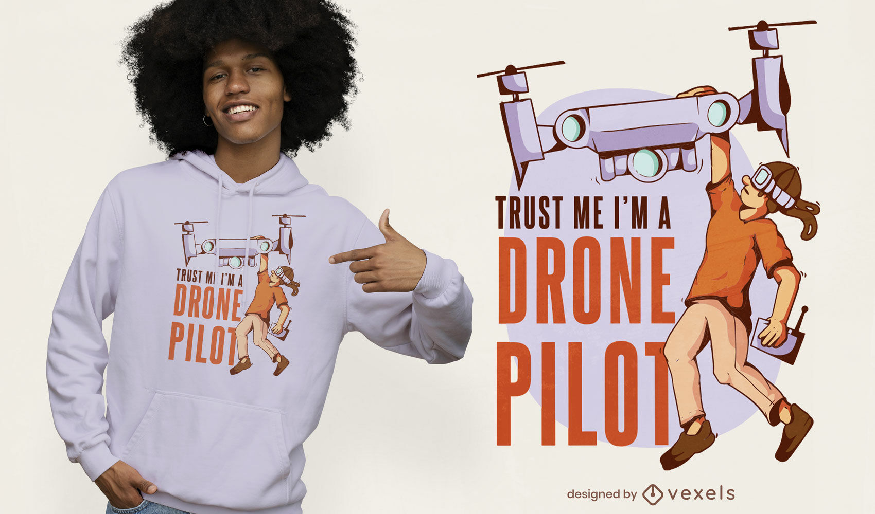 Diseño de camiseta de piloto de drones.