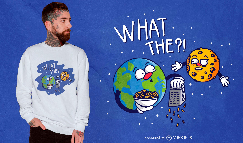 Design engraçado de camisetas da terra e da lua