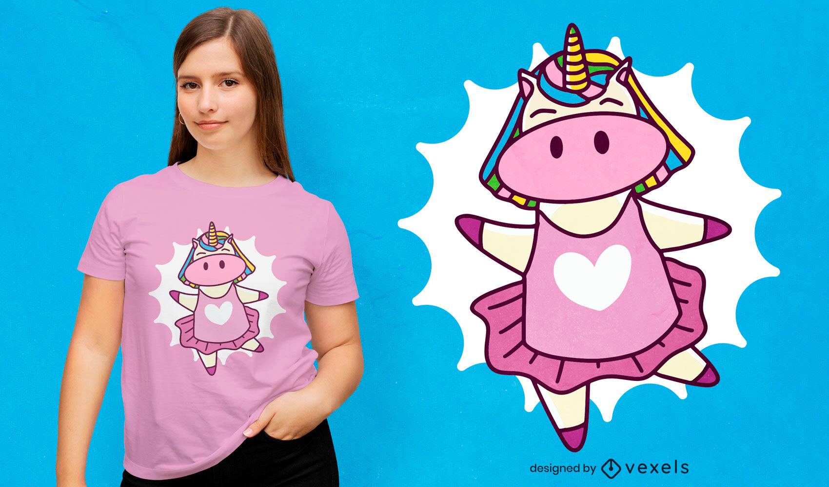 Diseño de camiseta de dibujos animados de unicornio de ballet.