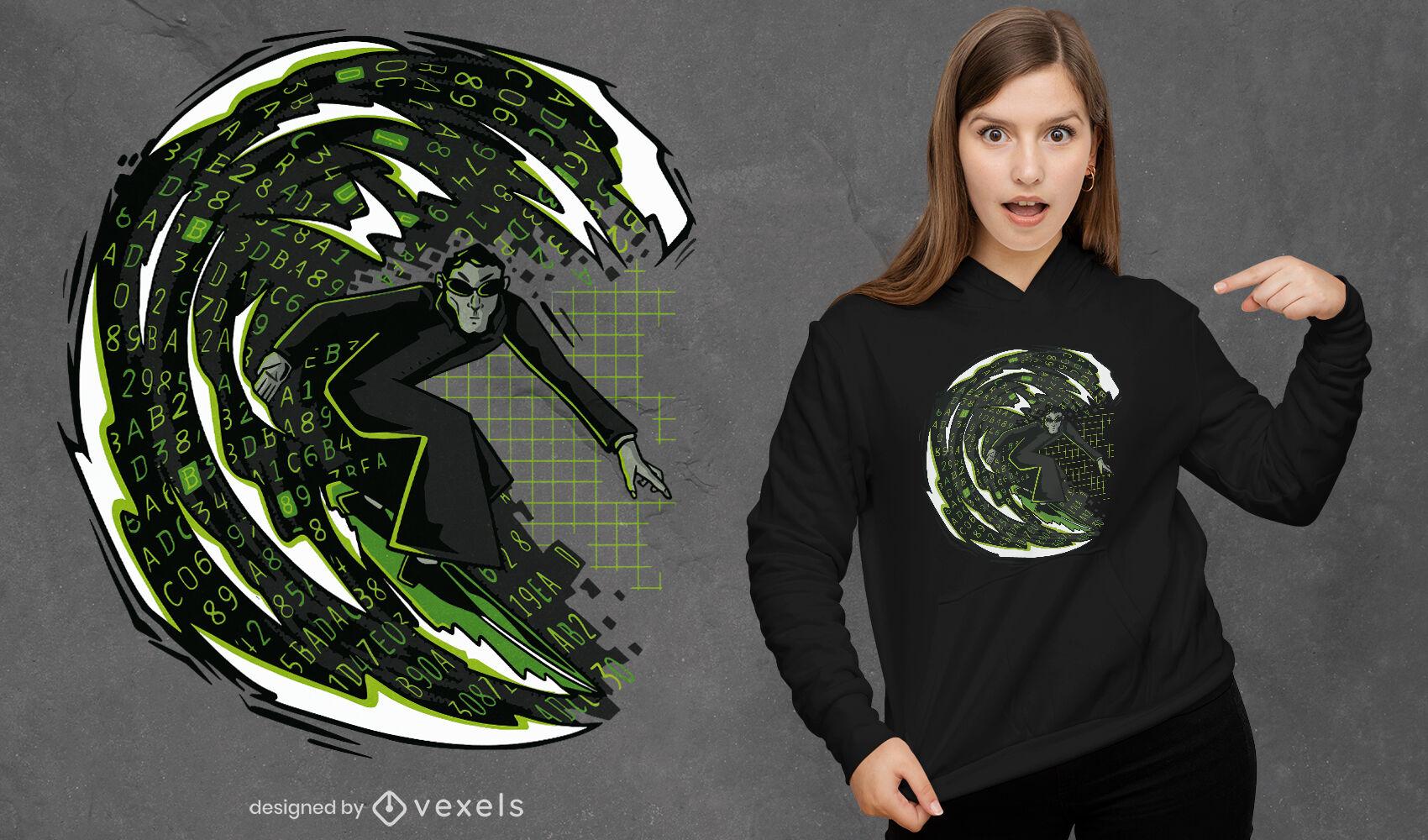 Diseño de camiseta de hombre de surf en el ciberespacio.