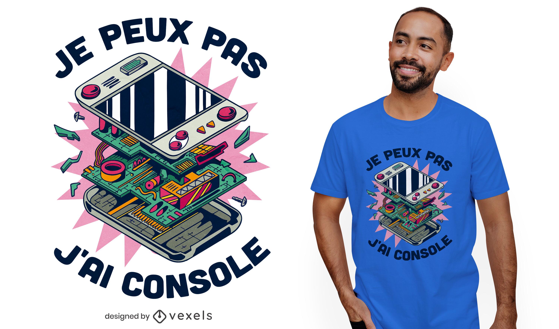 Diseño de camiseta de cita francesa de consola de juegos.