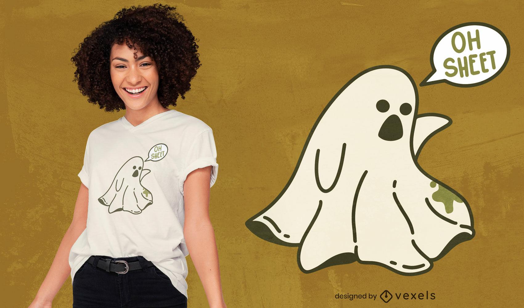 Dise?o de camiseta de dibujos animados divertido juego de palabras fantasma