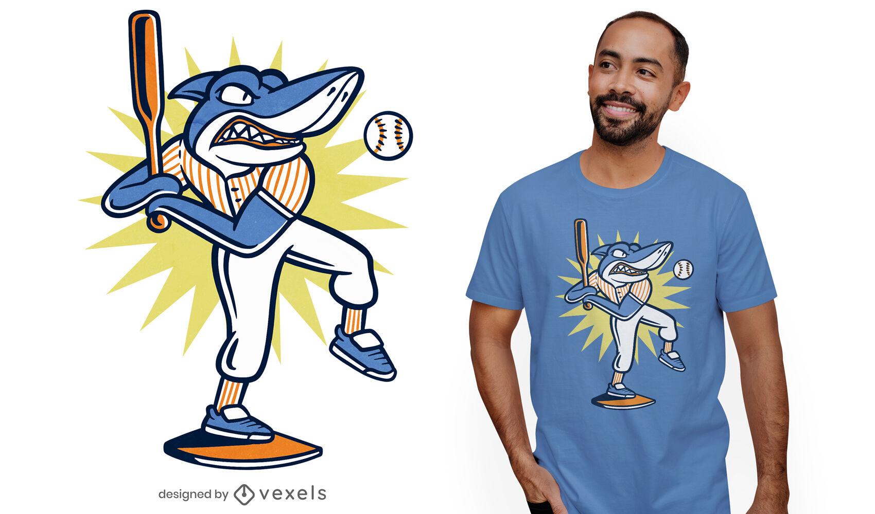 Dise?o de camiseta de tibur?n jugador de b?isbol.