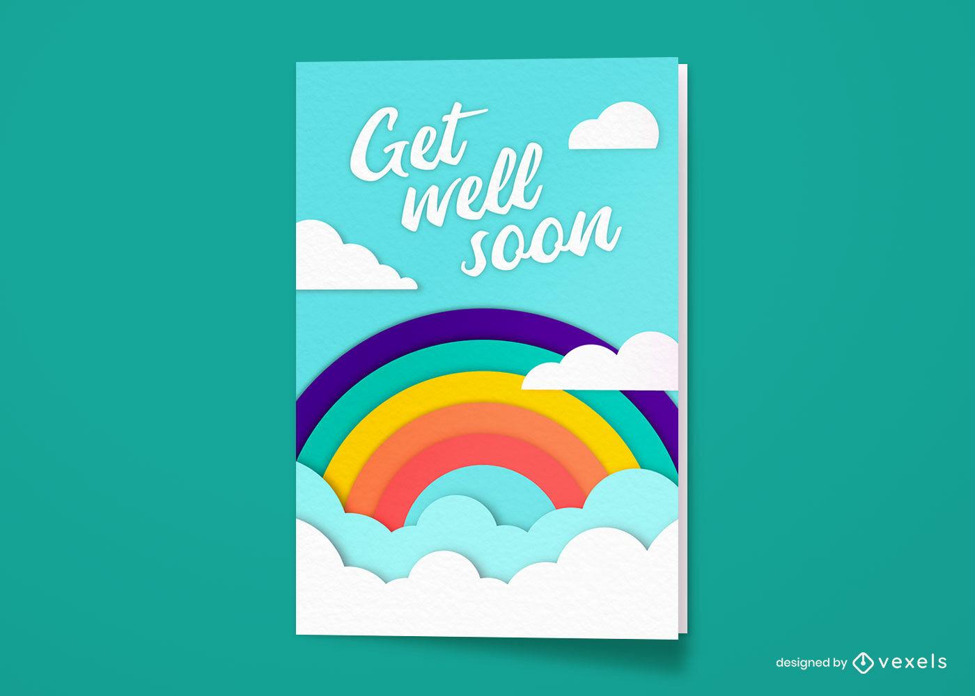 Recupérate pronto diseño de tarjeta de felicitación de arco iris