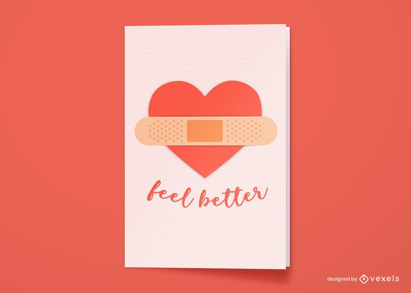 Tarjeta de felicitación de salud cardíaca vendada