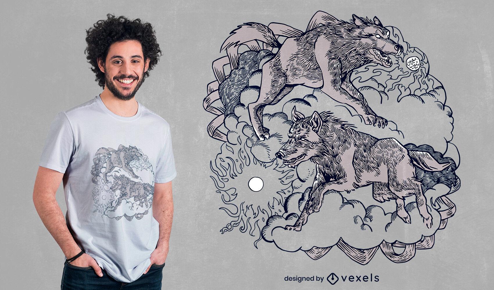 Diseño de camiseta de lobos de la mitología nórdica.