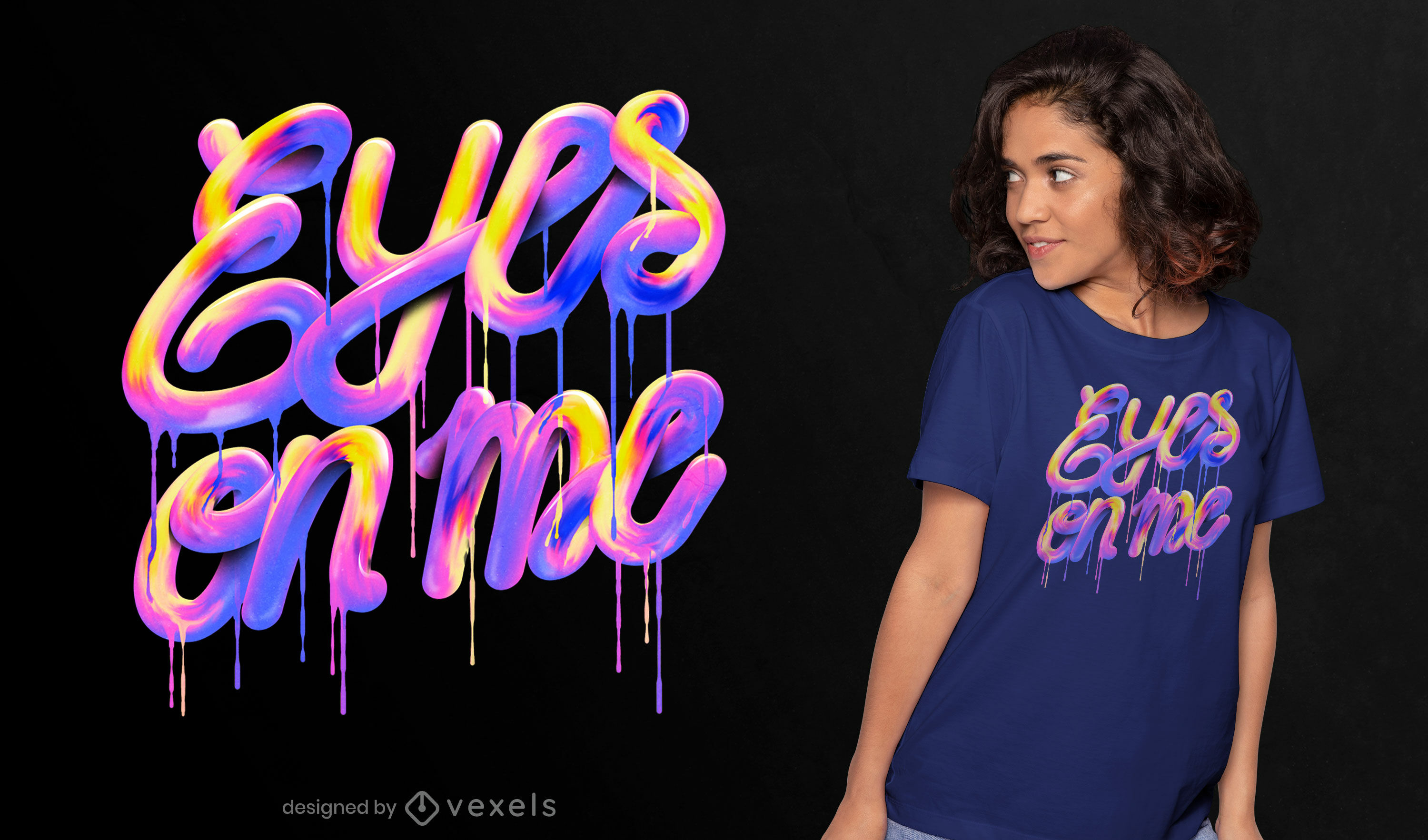 Eyes on me lettering psd t-shirt