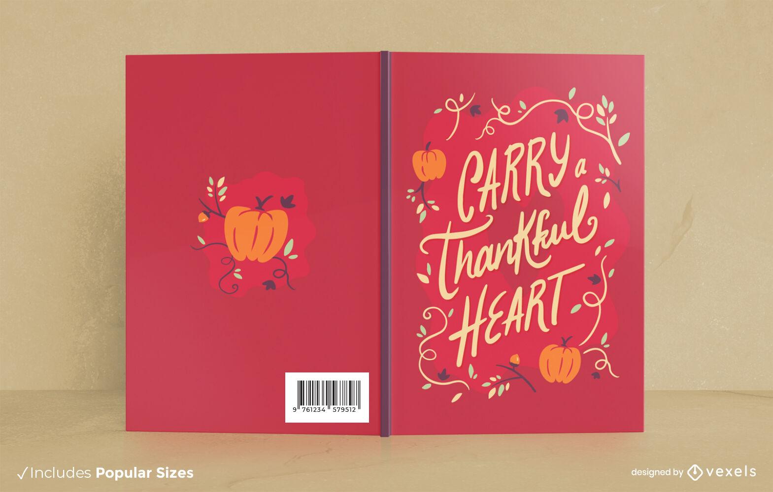 Diseño de portada de libro de vacaciones de acción de gracias