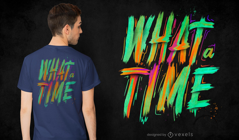 Qu? tiempo pincel letras dise?o de camiseta psd
