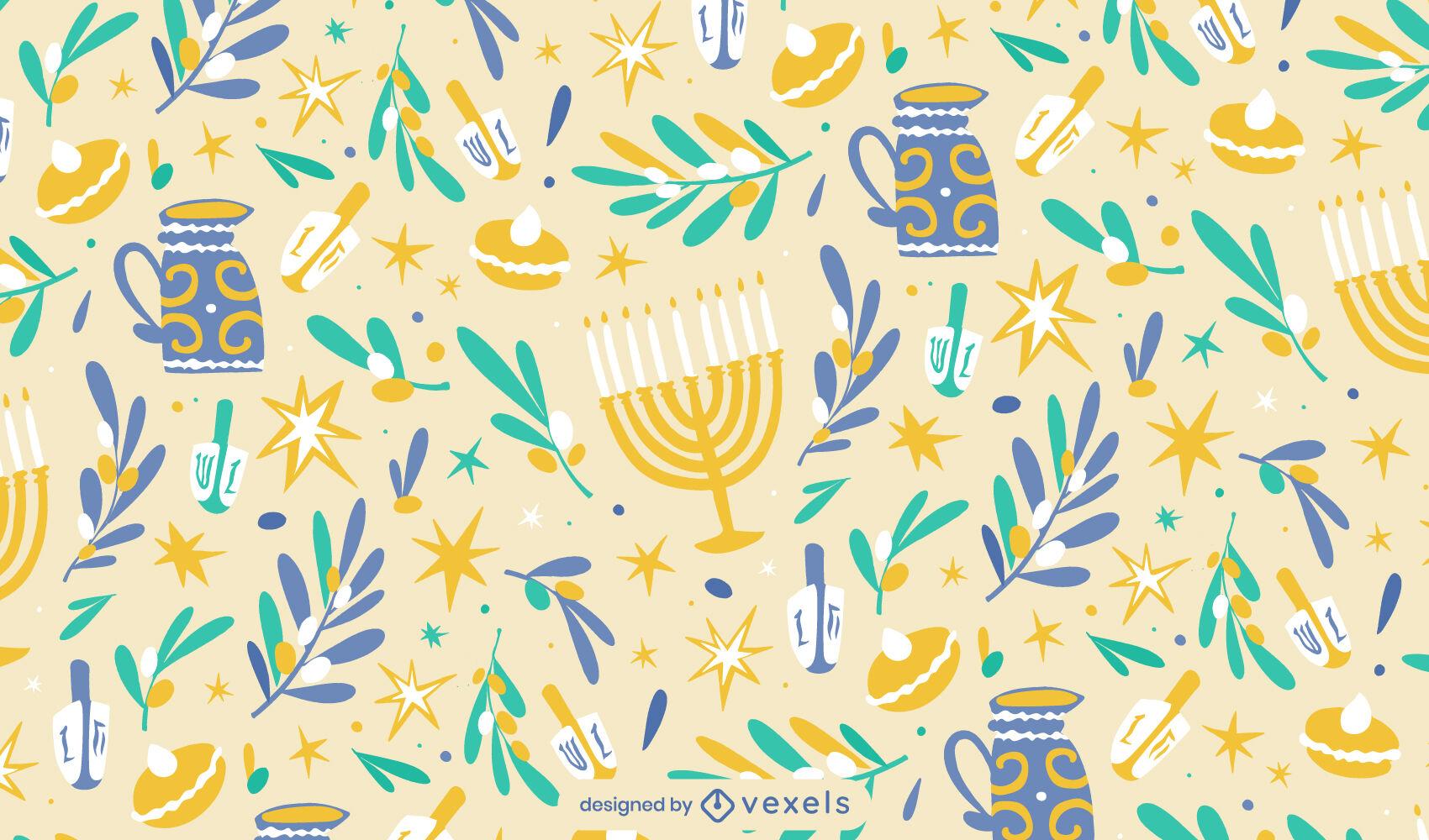 Dise?o de patr?n plano de festividad de Hanukkah