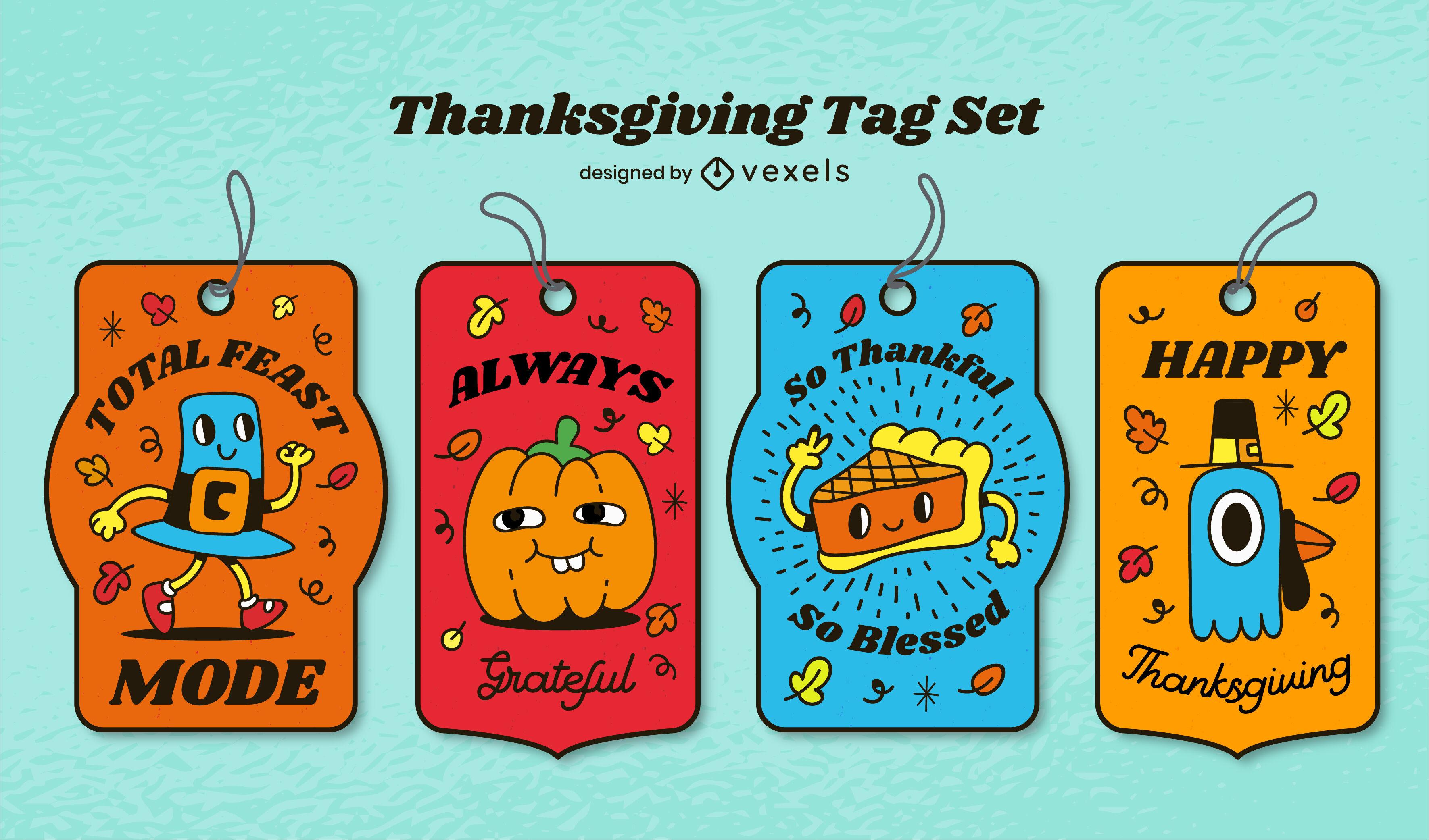 Conjunto de etiquetas de dibujos animados de vacaciones de acción de gracias