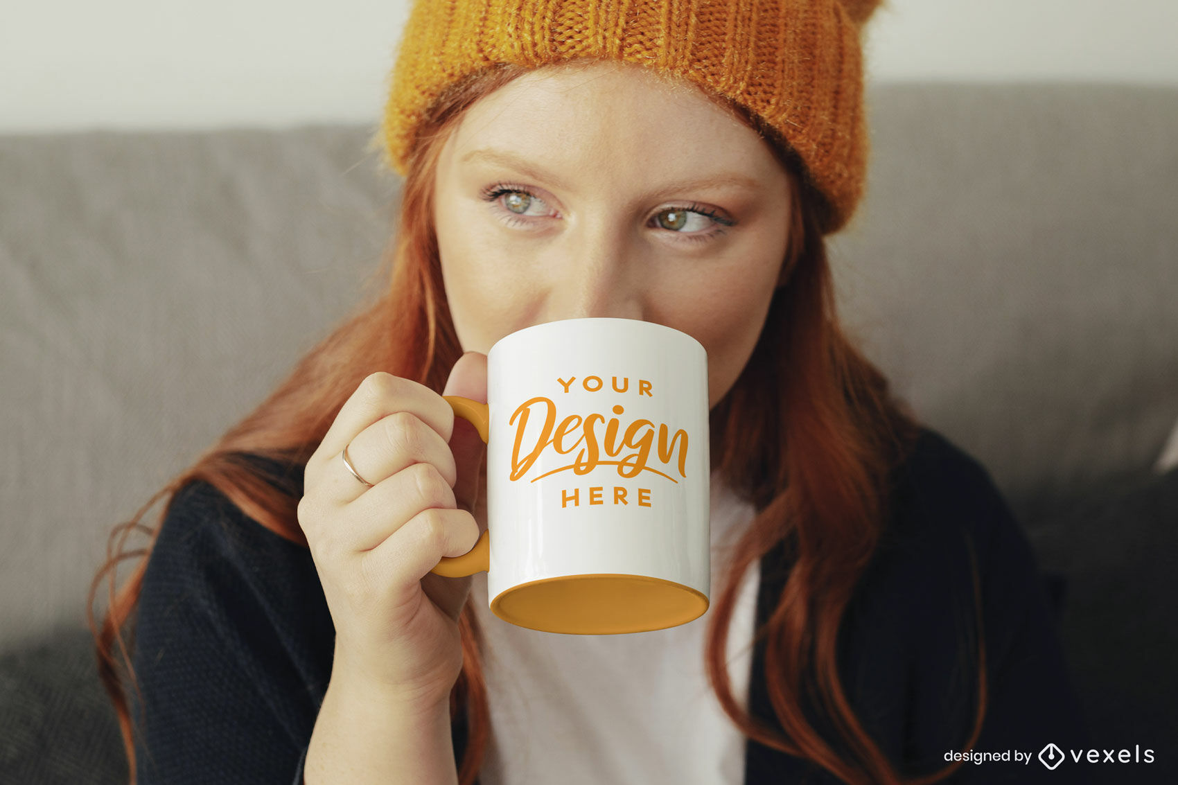 Girl with orange mug mockup psd
