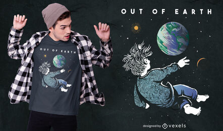 Watching Earth from space t-shirt design