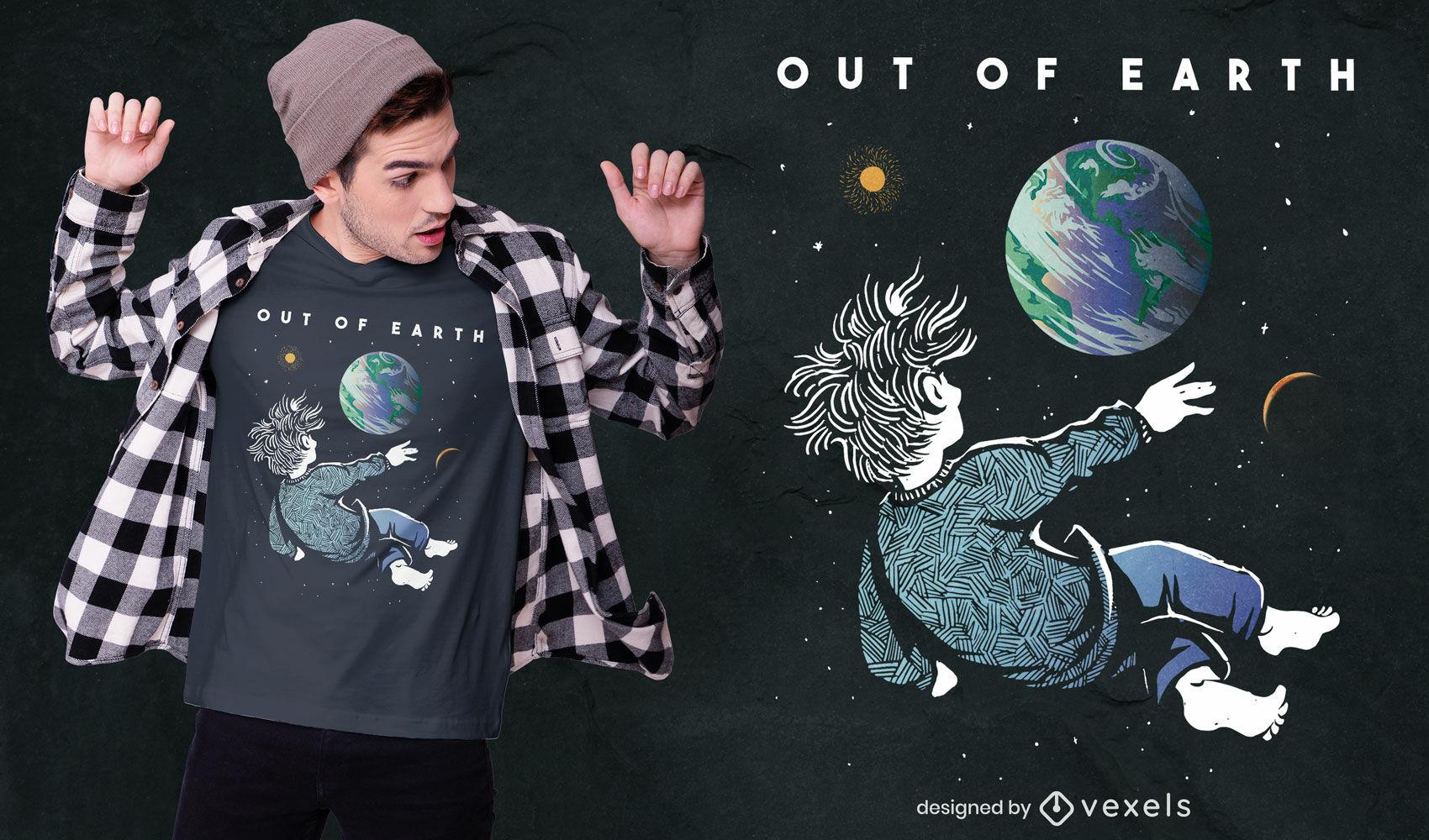 Diseño de camiseta mirando la Tierra desde el espacio.