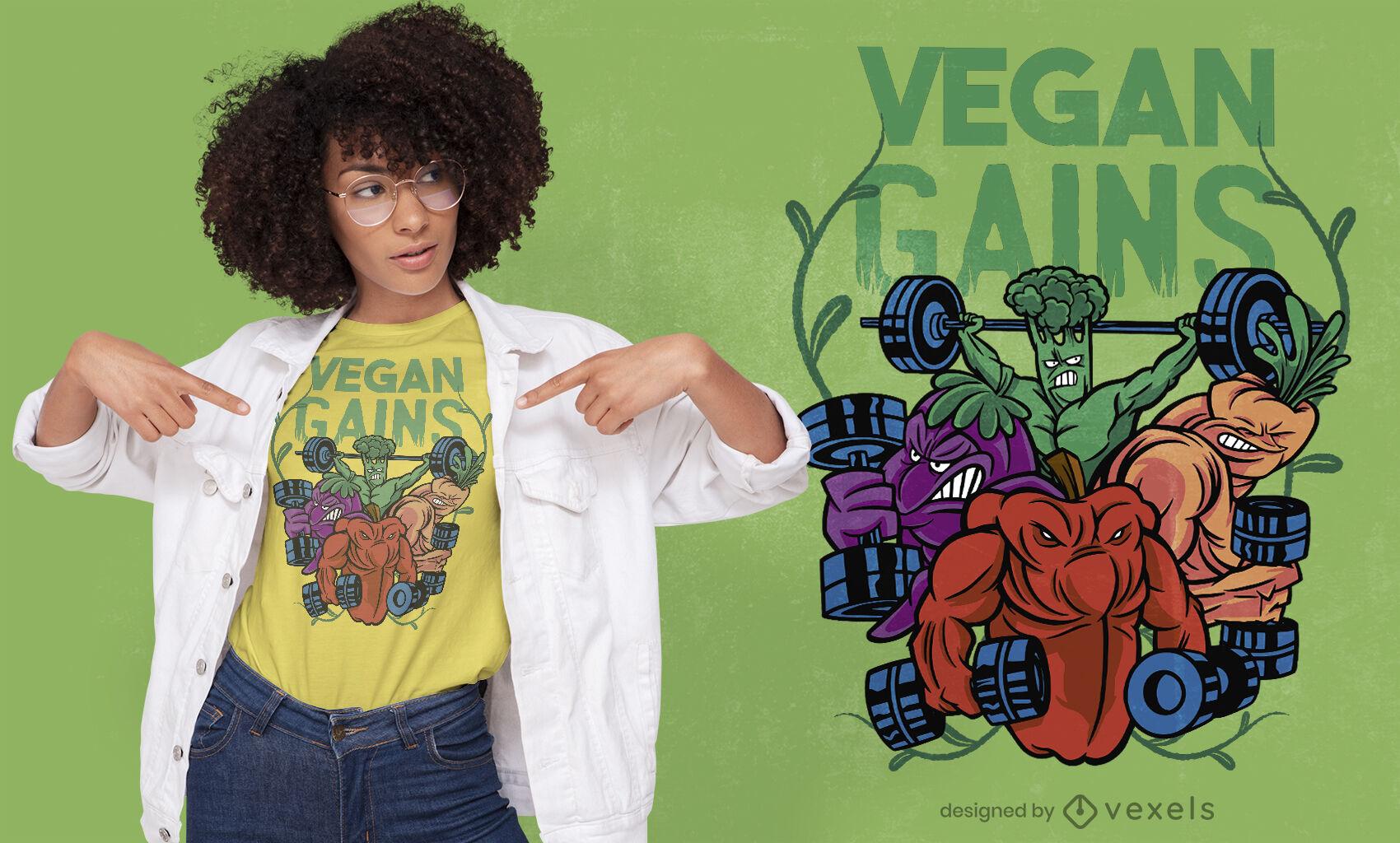Diseño de camiseta vegana de culturistas vegetales.