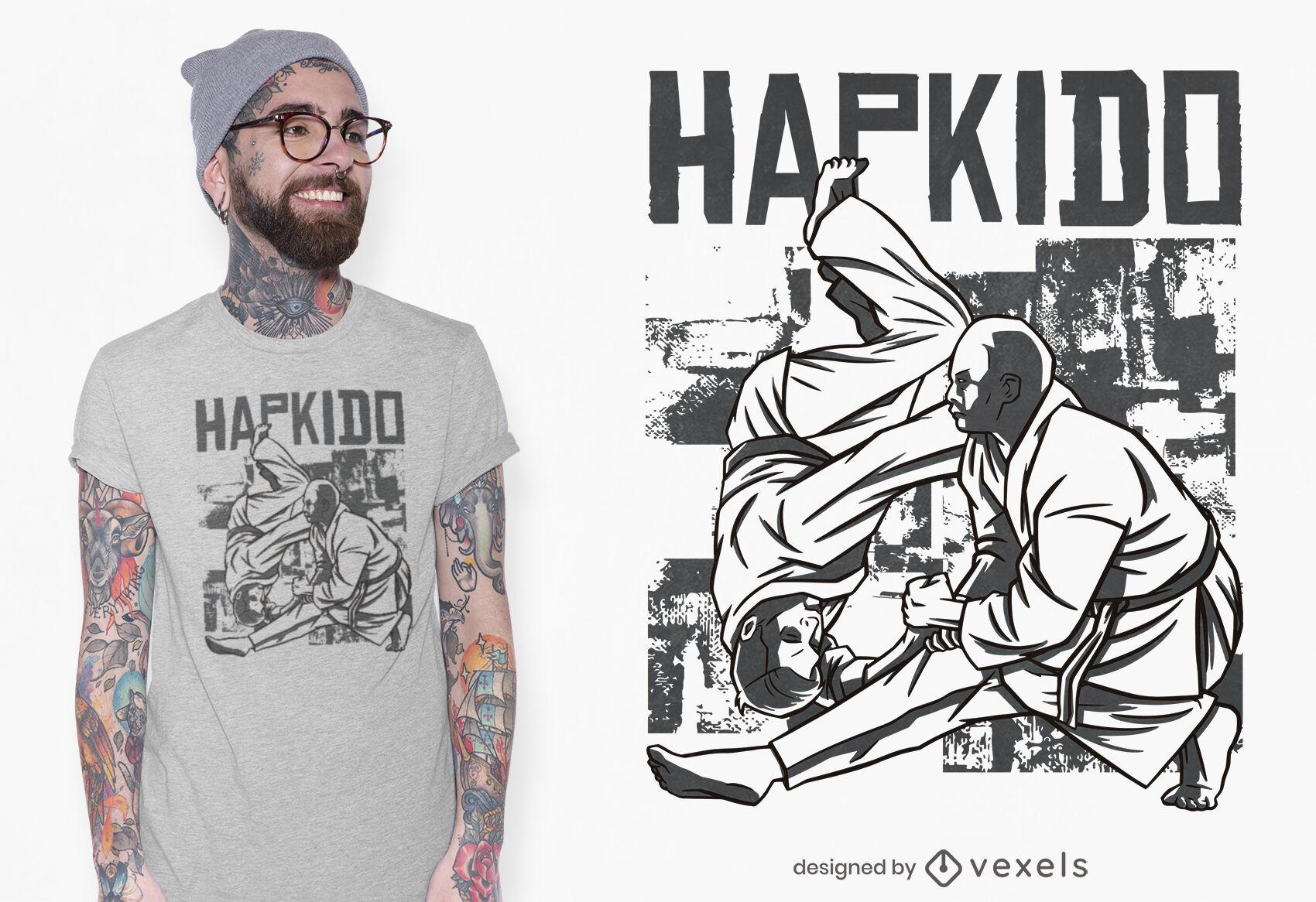 Diseño de camiseta de artes marciales Hapkido.