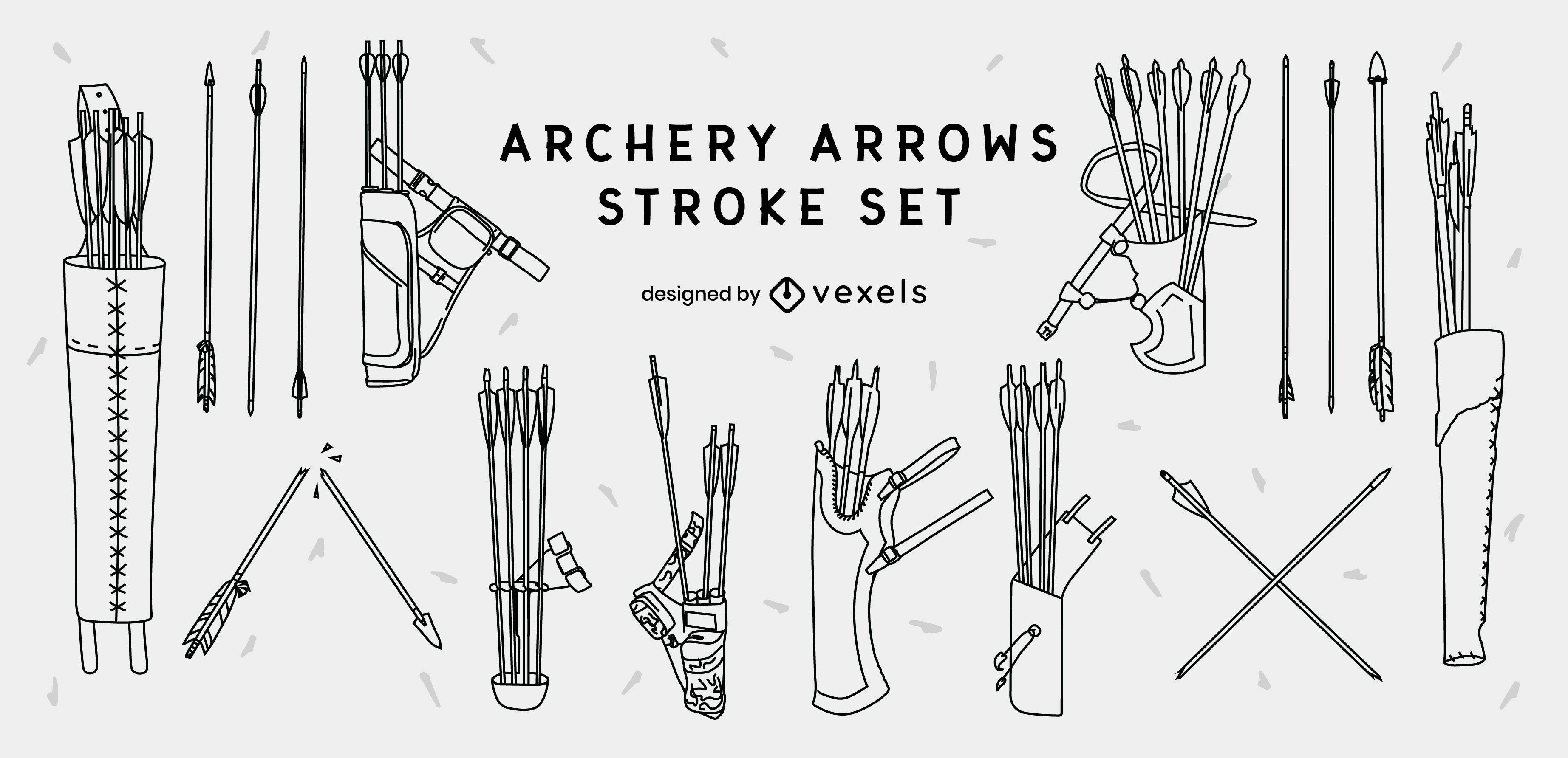 Archery arrows stroke set