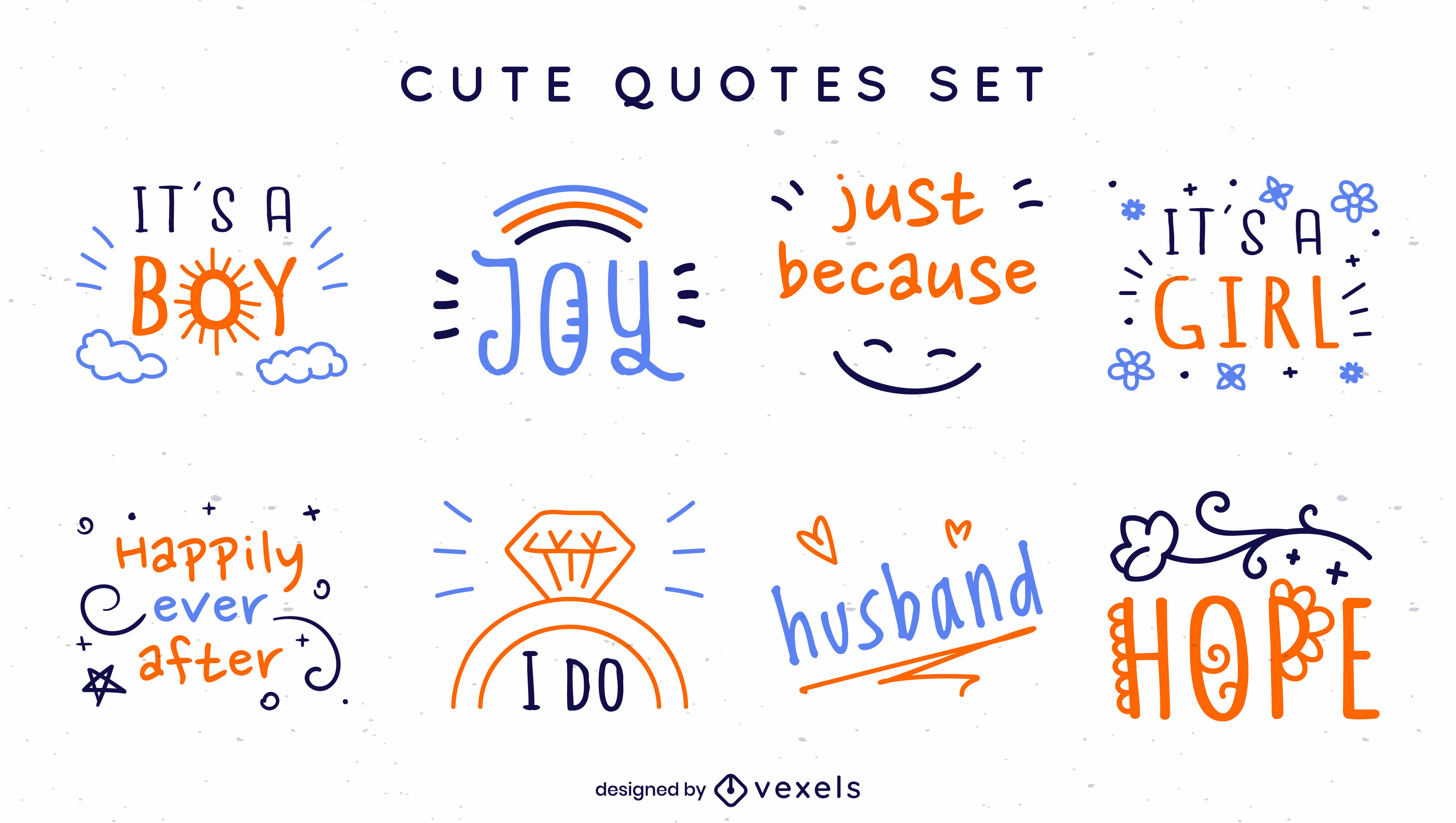 Doodle baby and wedding quotes set