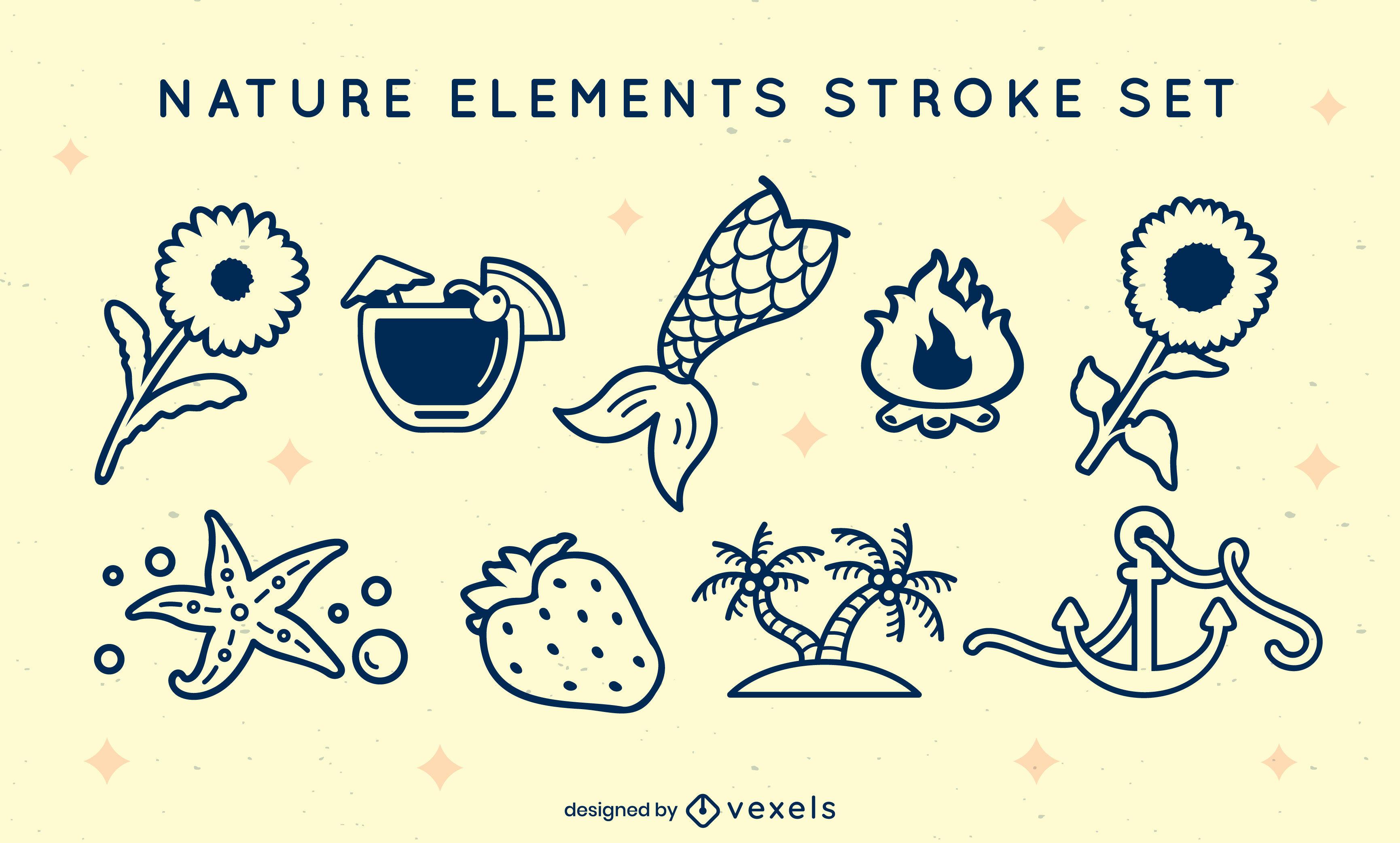 Elementos de la naturaleza y la playa llenos de trazo.