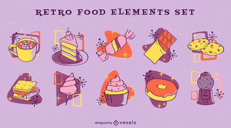 Conjunto de elementos de comida retro