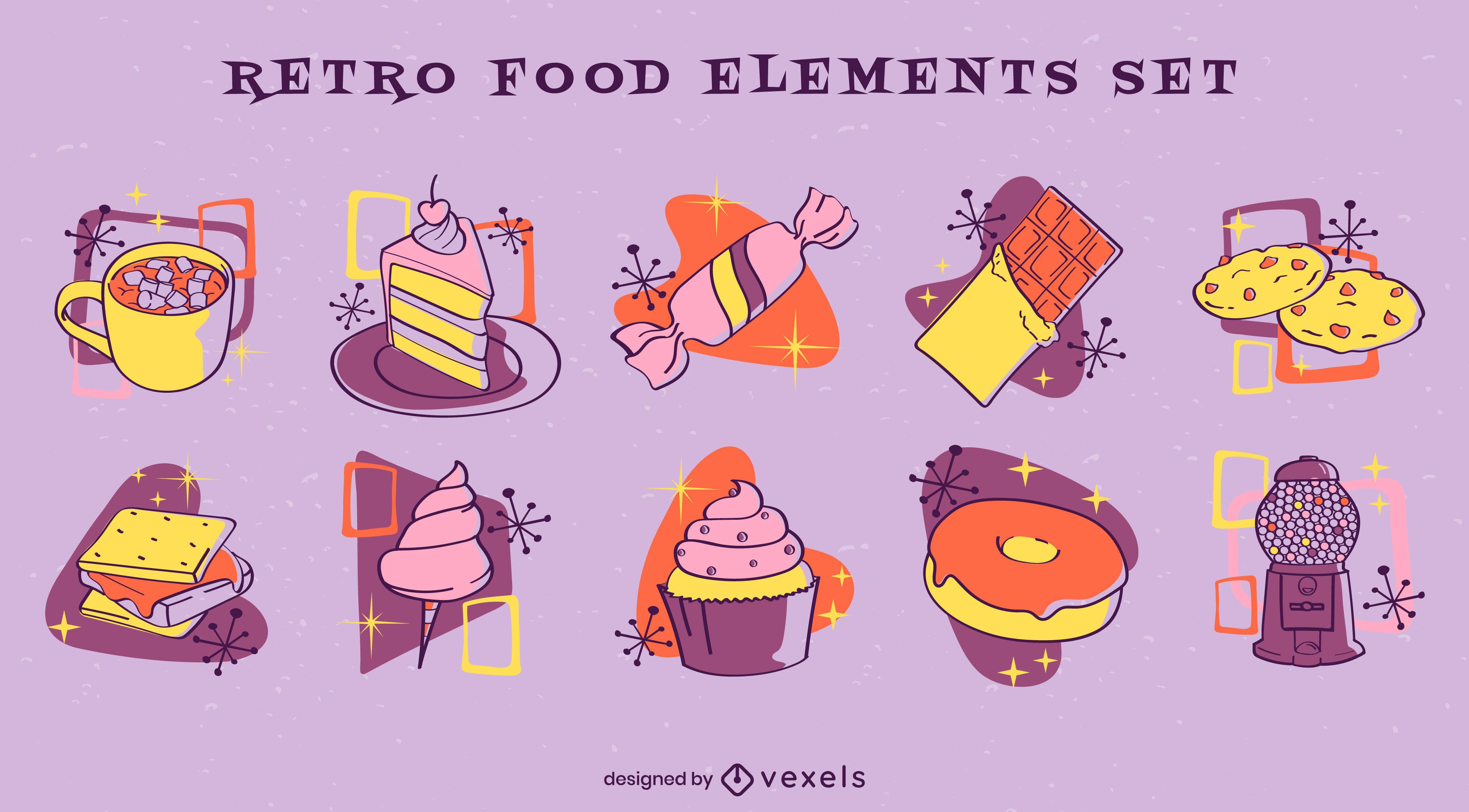Conjunto de elementos de comida retrô