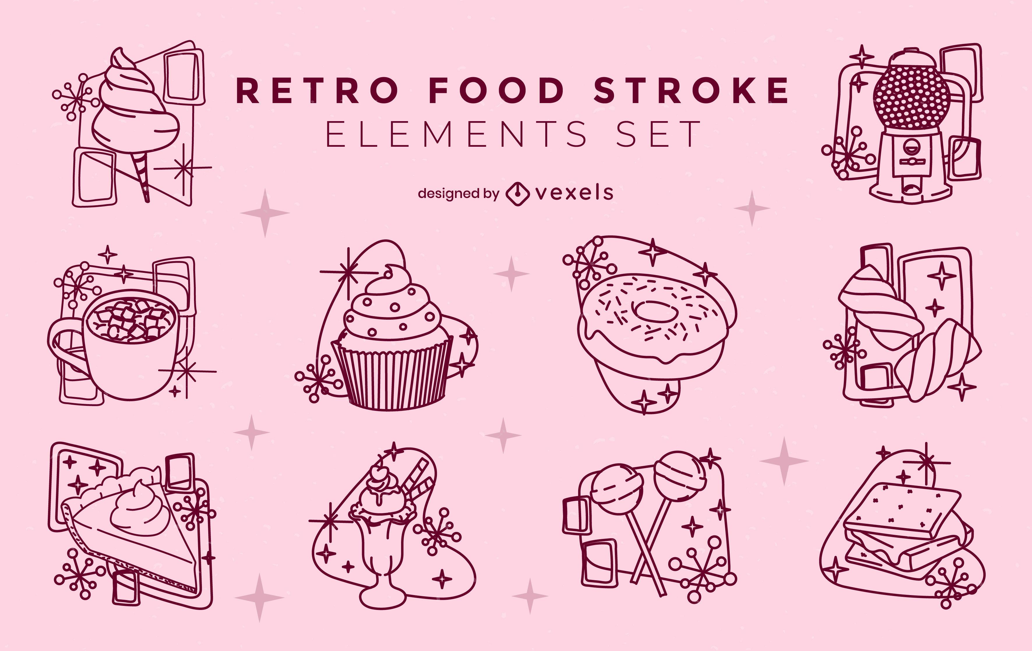 Sweet treats retro style stroke