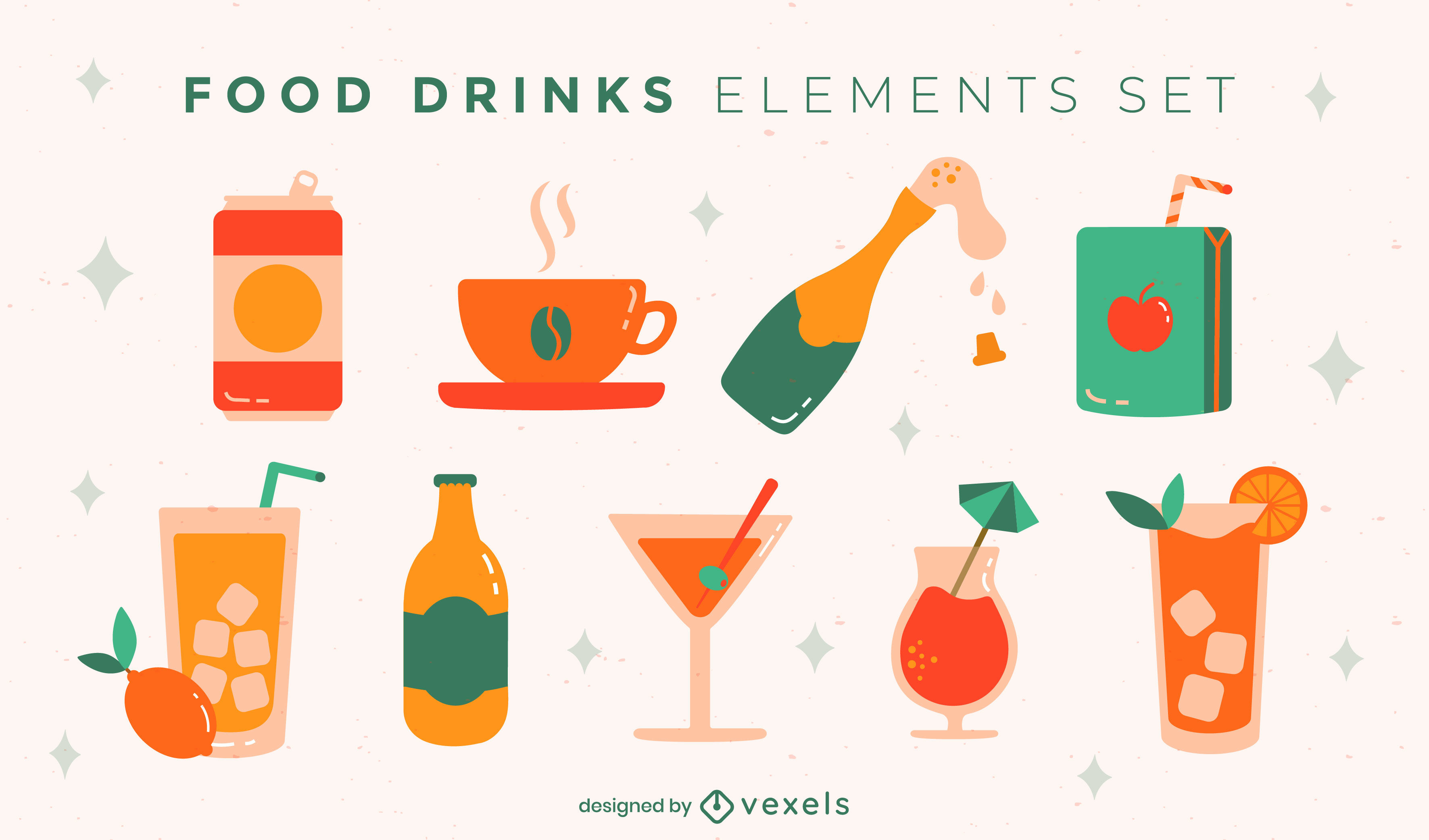 Set of glossy drink elements