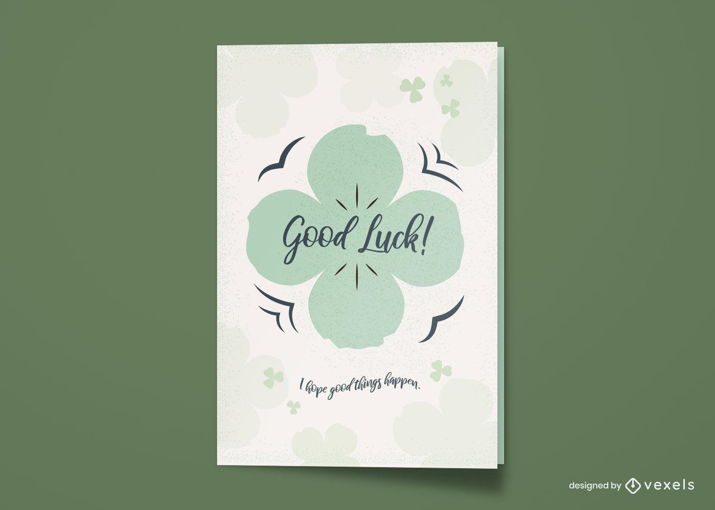 Four leaf clover good luck greeting card