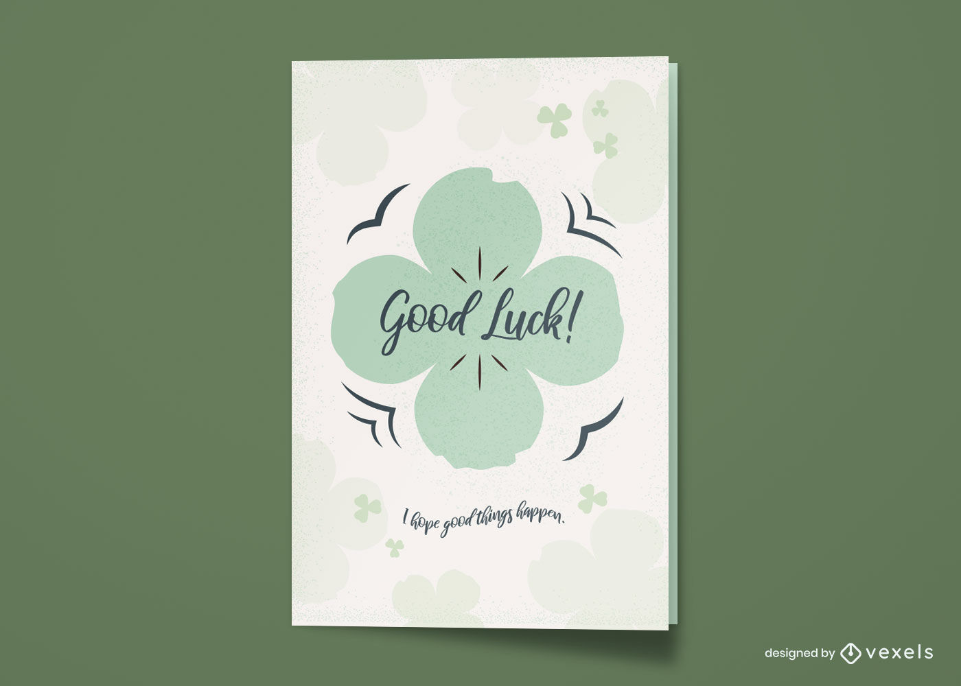 Tarjeta de felicitación de buena suerte de trébol de cuatro hojas