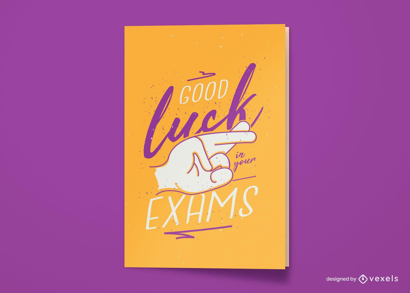 Diseño de tarjeta de felicitación de examen de buena suerte