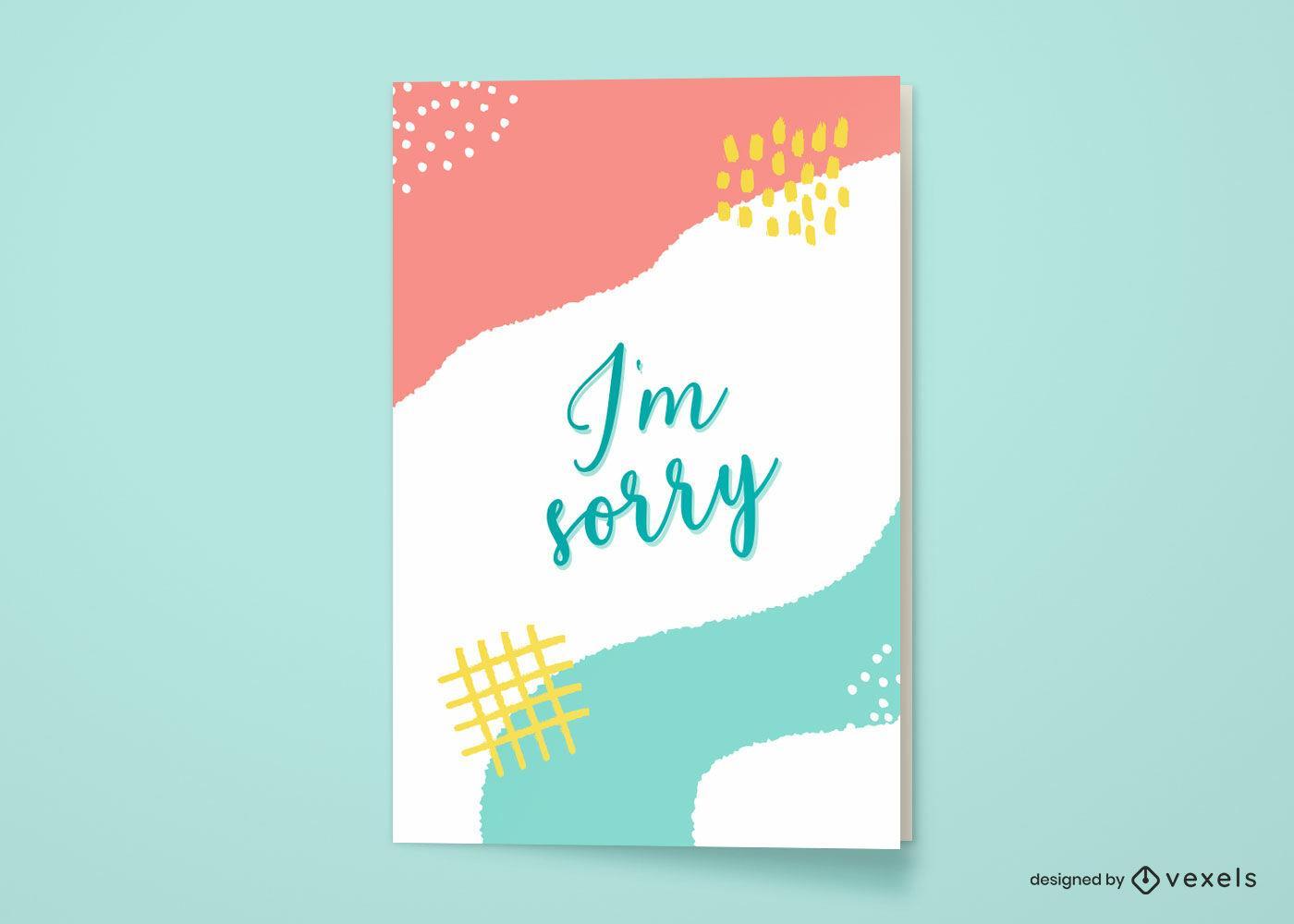 Lo siento diseño abstracto de la tarjeta de felicitación