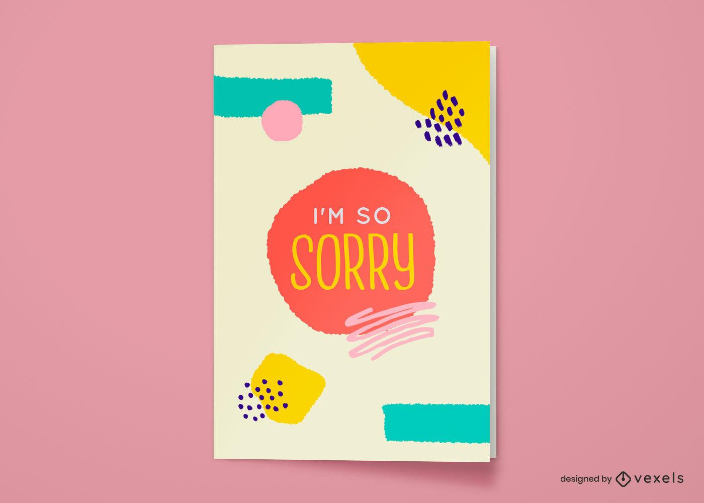 Lo siento mucho diseño abstracto de la tarjeta de felicitación