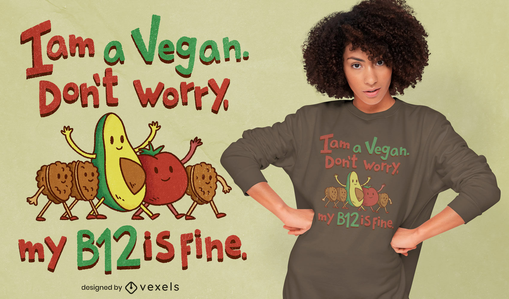Vegan cartoon quote psd t-shirt design