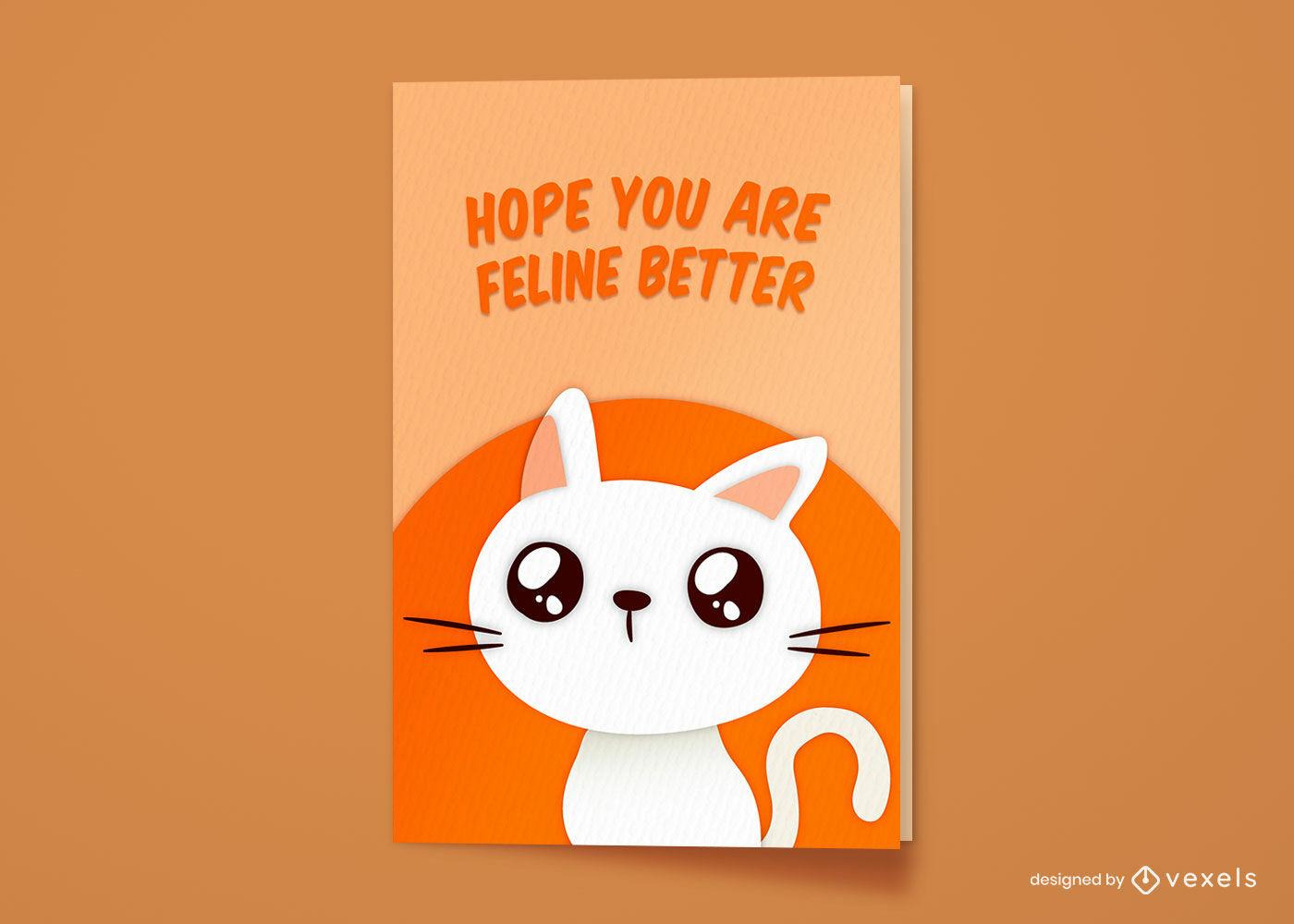 Tarjeta de felicitación divertida de la historieta animal lindo del gato