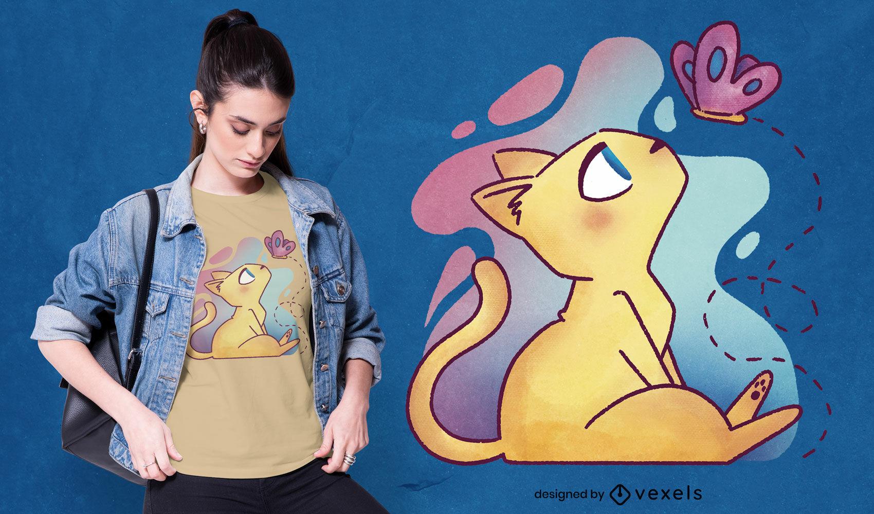 Diseño de camiseta de gato con mariposa psd