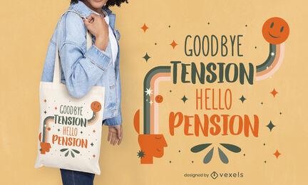 Retirement quote retro tote bag design